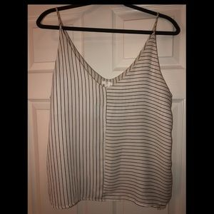 BP XL (fits like L) white tank with navy stripes